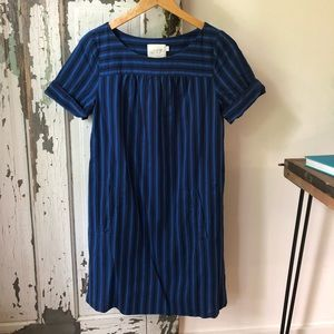 Anthro HD Paris blue stripes shift dress